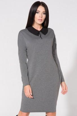 Krátke šedé púzdrové šaty s vreckami a čiernym límcom model 61714 TA