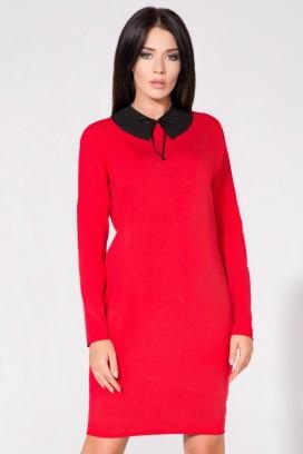 Krátke červené púzdrové šaty s vreckami a čiernym límcom model 61715 TA