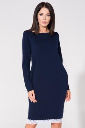 Krátke modré voľné šaty s bielym čipkovým lemom, vreckami a 3/4 rukávom model 61736 TA