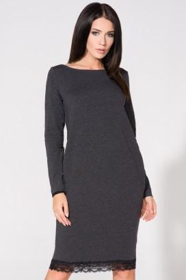 Krátke tmavošedé voľné šaty s čiernym čipkovým lemom, vreckami a 3/4 rukávom model 61739 TA