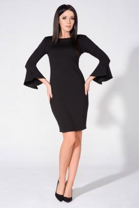 Krátke čierne púzdrové šaty s dlhými volánovými rukávmi model 76300 TA