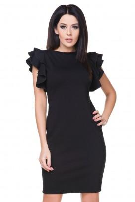 Krátke čierne púzdrové šaty s volánovými rukávmi model 76282 TA